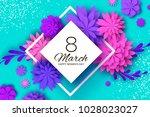 ultra violet pink paper cut... | Shutterstock .eps vector #1028023027
