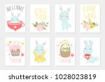 set of easter cards with cute... | Shutterstock .eps vector #1028023819