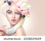 spring woman. beauty summer...   Shutterstock . vector #1028029609