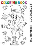 coloring book leprechaun girl... | Shutterstock .eps vector #1028036215