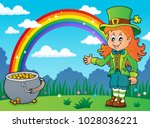 leprechaun girl theme image 4   ... | Shutterstock .eps vector #1028036221