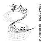 music notes on scale isolated... | Shutterstock .eps vector #1028039839