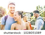 happy friends group enjoying... | Shutterstock . vector #1028051089