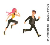 vector cartoon ranaway people... | Shutterstock .eps vector #1028054401