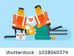 caucasian white paramedics... | Shutterstock .eps vector #1028060374