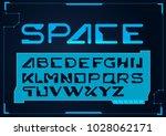 futuristic font. cosmic font.... | Shutterstock .eps vector #1028062171