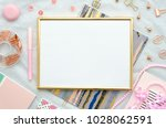 flat lay with golden frame  and ... | Shutterstock . vector #1028062591