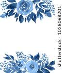 indigo blue watercolor flowers. ... | Shutterstock . vector #1028068201