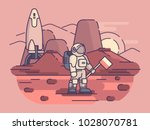 astronaut stands on surface of... | Shutterstock .eps vector #1028070781