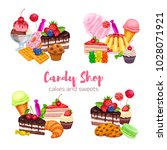 banners with confectionery and... | Shutterstock .eps vector #1028071921