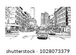downtown of west side new york... | Shutterstock .eps vector #1028073379