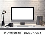 mockup poster in the interior ... | Shutterstock . vector #1028077315