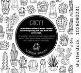 Vector Cacti Doodles Backgroun...
