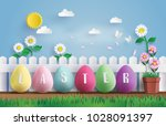 illustration of easter day with ... | Shutterstock .eps vector #1028091397