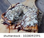 two slices of toast with a... | Shutterstock . vector #1028092591