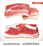 bacon. fresh meat  3d realistic ... | Shutterstock .eps vector #1028093341