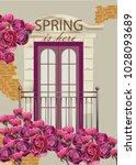 balcony facade in flowers... | Shutterstock .eps vector #1028093689