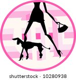 Stock vector lady dog walker 10280938