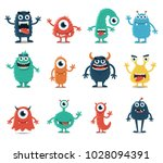 set of monsters isolated on... | Shutterstock .eps vector #1028094391