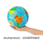 hand with globe isolated on... | Shutterstock . vector #1028094865