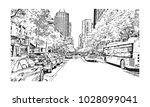 downtown of west side new york... | Shutterstock .eps vector #1028099041