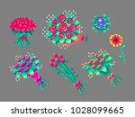 pixel art flower bouquets set . ...   Shutterstock .eps vector #1028099665