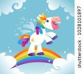 white unicorn walking on the...   Shutterstock .eps vector #1028101897