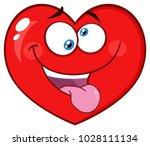 silly red heart cartoon emoji... | Shutterstock .eps vector #1028111134