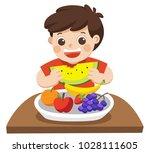 a little boy happy to eat... | Shutterstock .eps vector #1028111605