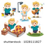 the daily routine of a cute boy ... | Shutterstock .eps vector #1028111827