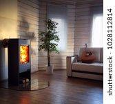 modern wood burning stove... | Shutterstock . vector #1028112814