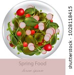 spring fresh salad with spinach ...   Shutterstock .eps vector #1028118415