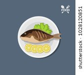 icon of fried fish with lemon... | Shutterstock .eps vector #1028120851