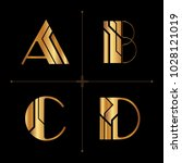 art deco alphabet design... | Shutterstock .eps vector #1028121019