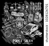 police doodle illustration... | Shutterstock .eps vector #1028126701