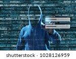 man hacking account on virtual...   Shutterstock . vector #1028126959