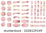 pink banner ribbon label vector ... | Shutterstock .eps vector #1028129149