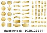 golden banner ribbon label... | Shutterstock .eps vector #1028129164