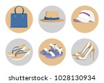 handbag and hats  vogue shoes... | Shutterstock .eps vector #1028130934
