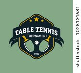 vintage color table tennis logo.... | Shutterstock .eps vector #1028134681