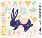vector illustration with cute... | Shutterstock .eps vector #1028136391