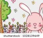 bunny in the forest doodle... | Shutterstock .eps vector #1028139649