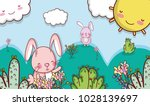 bunny in the forest doodle... | Shutterstock .eps vector #1028139697