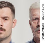 collage of two portraits of the ... | Shutterstock . vector #1028141641