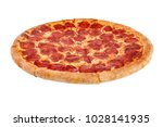 whole baked pizza isolated on... | Shutterstock . vector #1028141935
