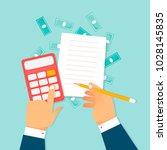 economics  calculations  hands... | Shutterstock .eps vector #1028145835