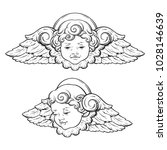 cherub cute winged curly...   Shutterstock .eps vector #1028146639