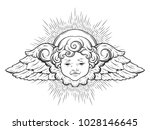 cherub cute winged curly... | Shutterstock .eps vector #1028146645