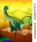 cute cartoon diplodocus with... | Shutterstock .eps vector #1028157277