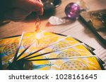 tarot cards dowsing tool in... | Shutterstock . vector #1028161645